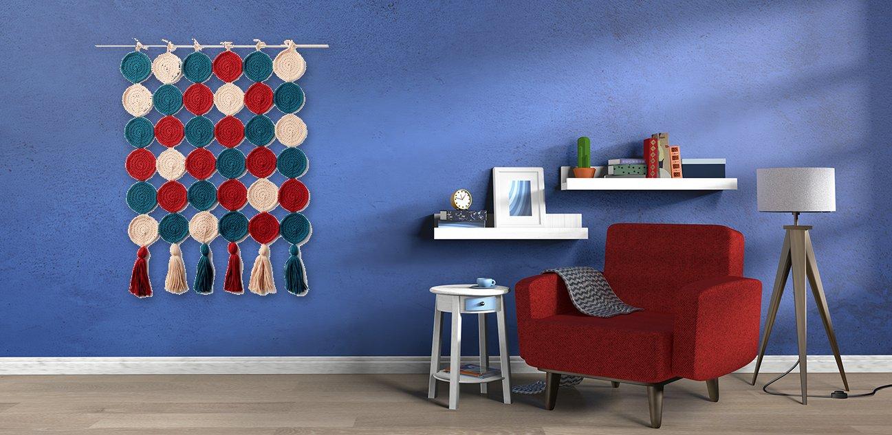 Фото для материала: Вязаный гобелен на стену - инструкция