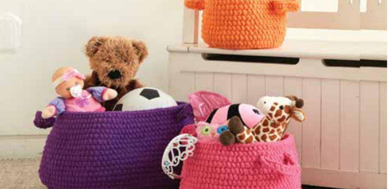 Фото для материала: Как связать корзину для детских игрушек крючком