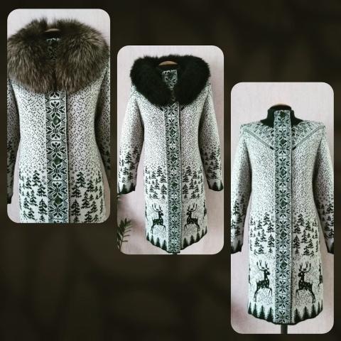 Вязаное зимнее пальто